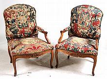 Pair of Louis XV Beechwood Bergeres