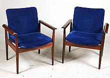 Pair of Finn Juhl France& Sons Teak Lounge Chairs
