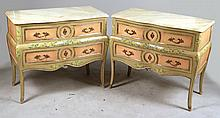 Pair of Louis XV Style Paint-Decorated Commodes