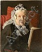 AN OIL ON CANVAS, PORTRAIT OF AN ELDERLY WIDOW READING A BOOK, George Hillyard Swinstead, Click for value
