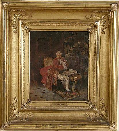 AN OIL ON BOARD DEPICTING A GENRE SCENE OF A GENTLEMAN IN HIS LIBRARY