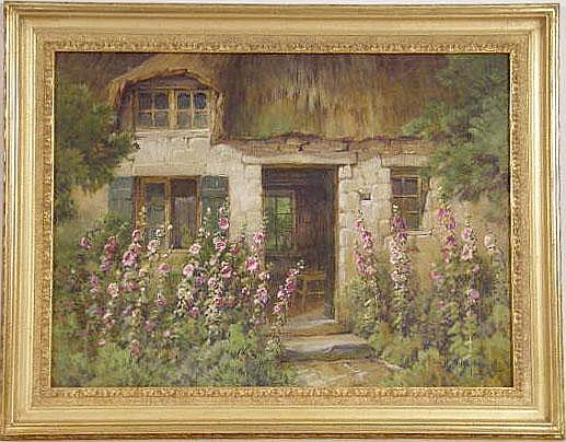 AN WATERCOLOR ON BOARD OF HOLLYHOCKS AND A COTTAGE