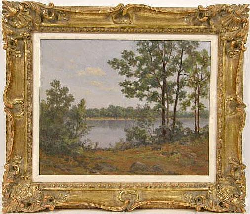 A FRAMED OIL ON BOARD, LANDSCAPE WITH LAKE