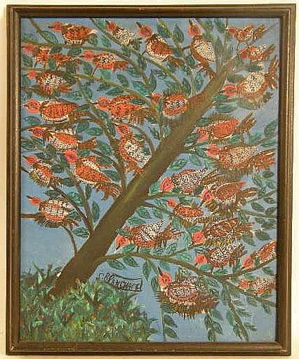 AN OIL ON MASONITE OF A TREE FULL OF COLORFUL BIRDS