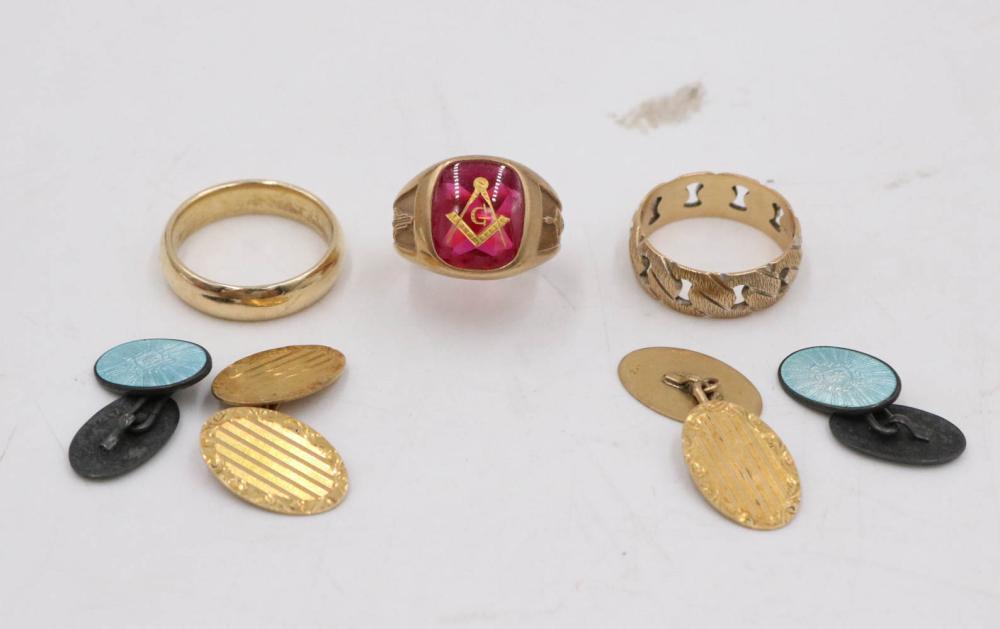 Two 14K Yellow Gold Band Rings & Masonic