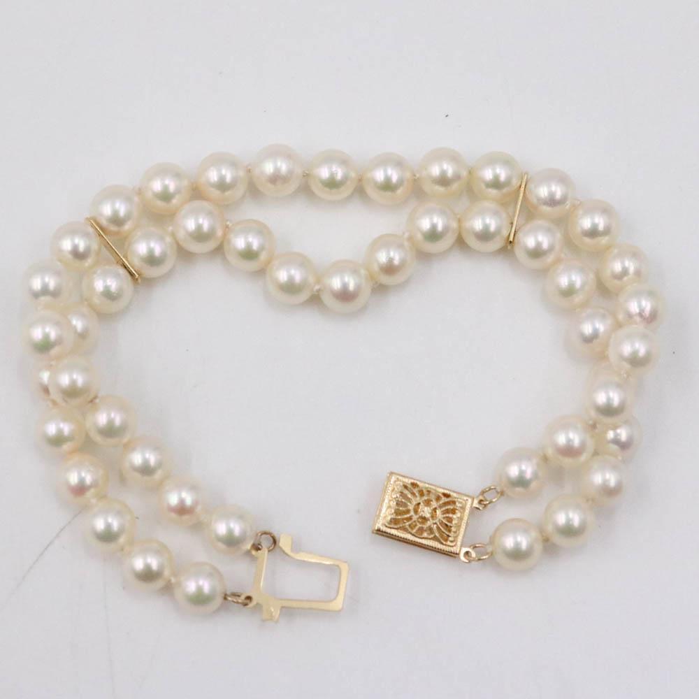 Two Strand 5mm Cultured Pearl Bracelet 14K Gold