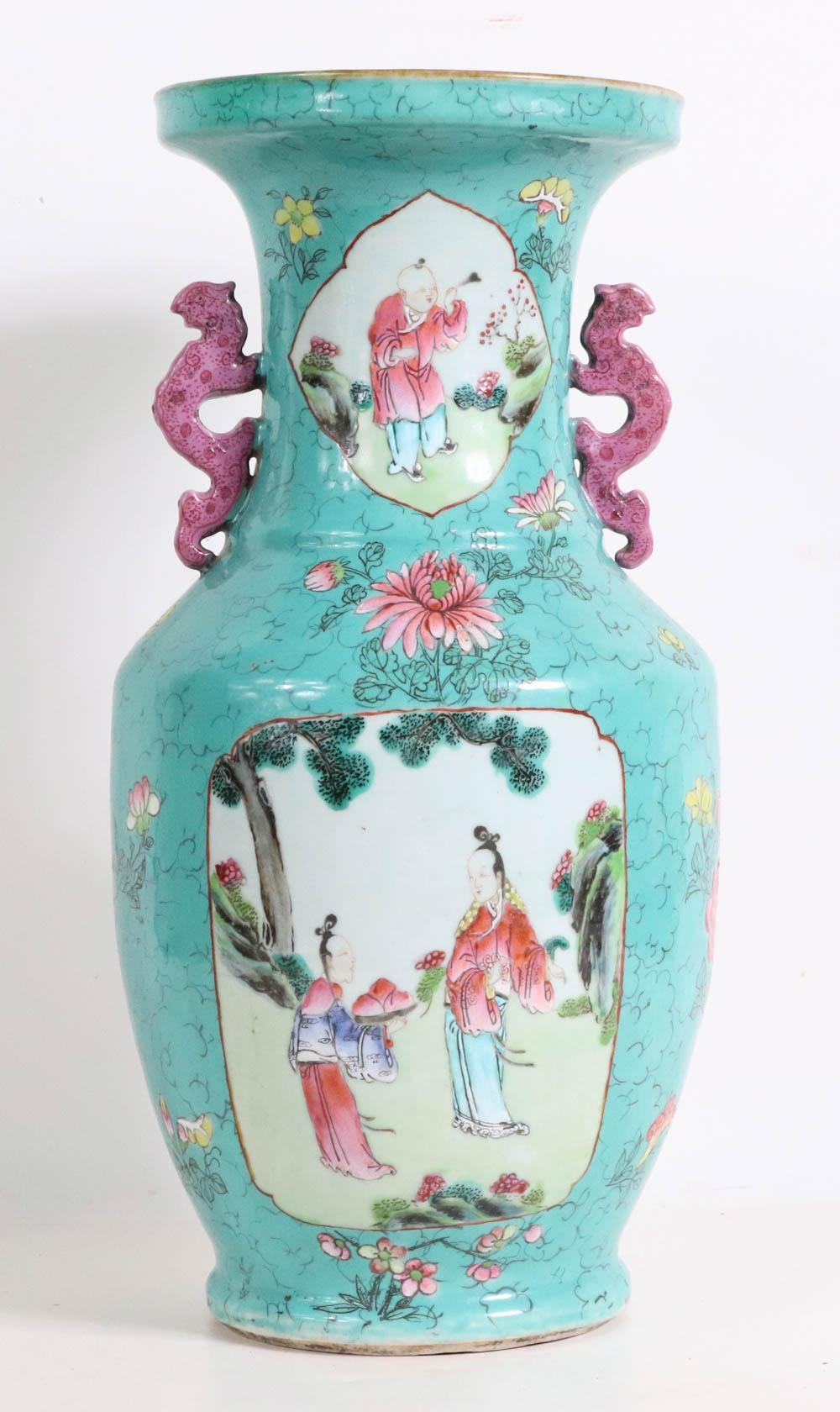 Chinese Double-Handled Baluster Vase