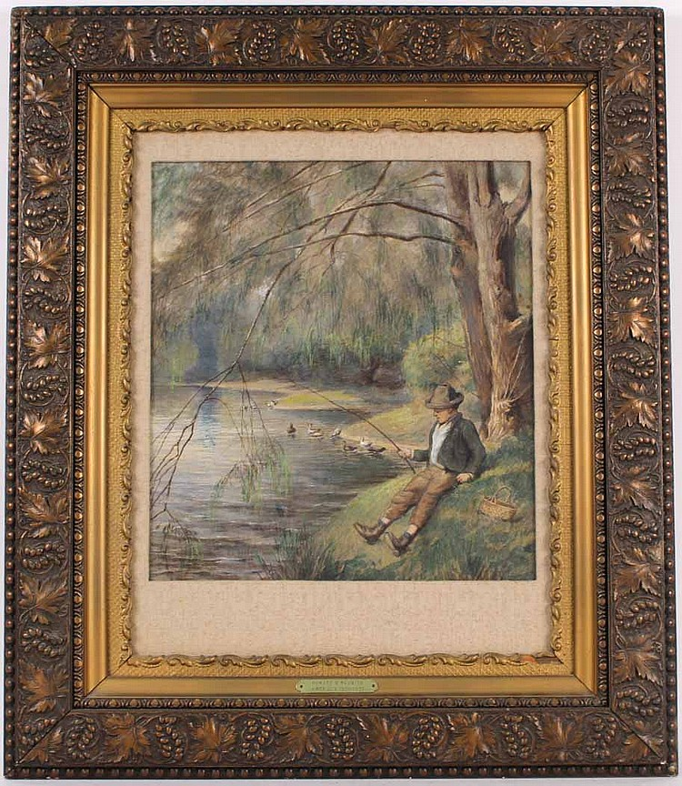 Mixed Media on Paper, Man Fishing on Riverbank