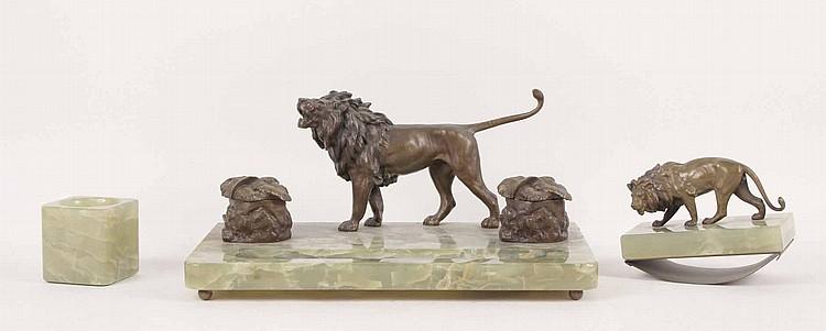 Austrian Onyx and Bronze Lion Desk Set