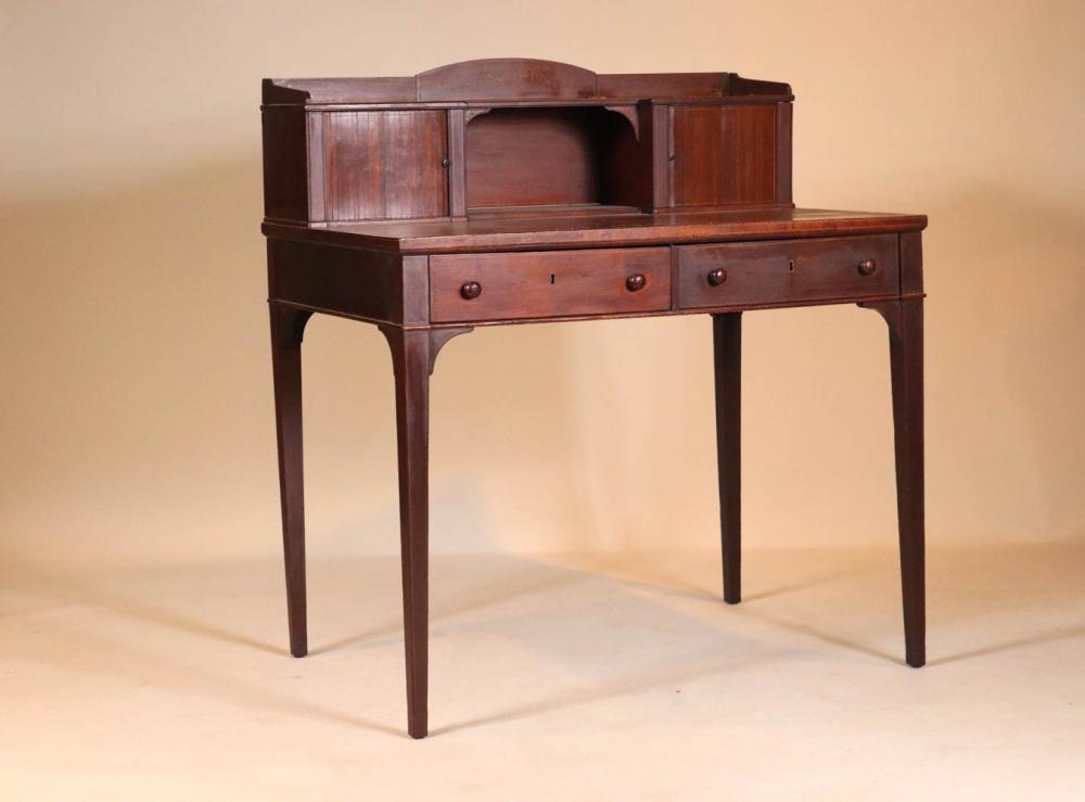 Edwardian Inlaid Mahogany Tambour Writing Desk