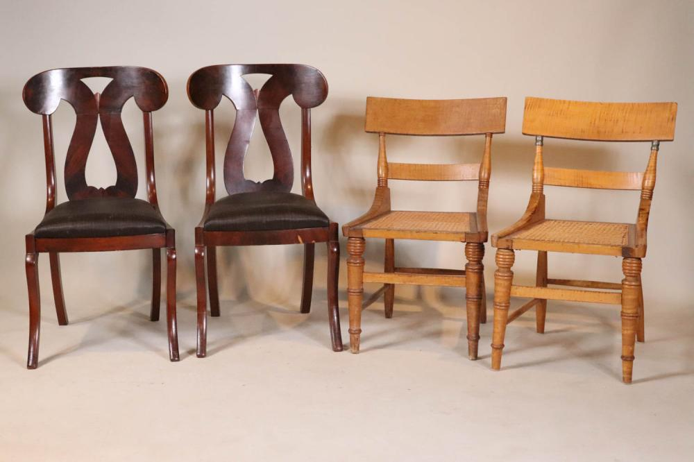 Pair of Late Federal Figures Maple Side Chairs