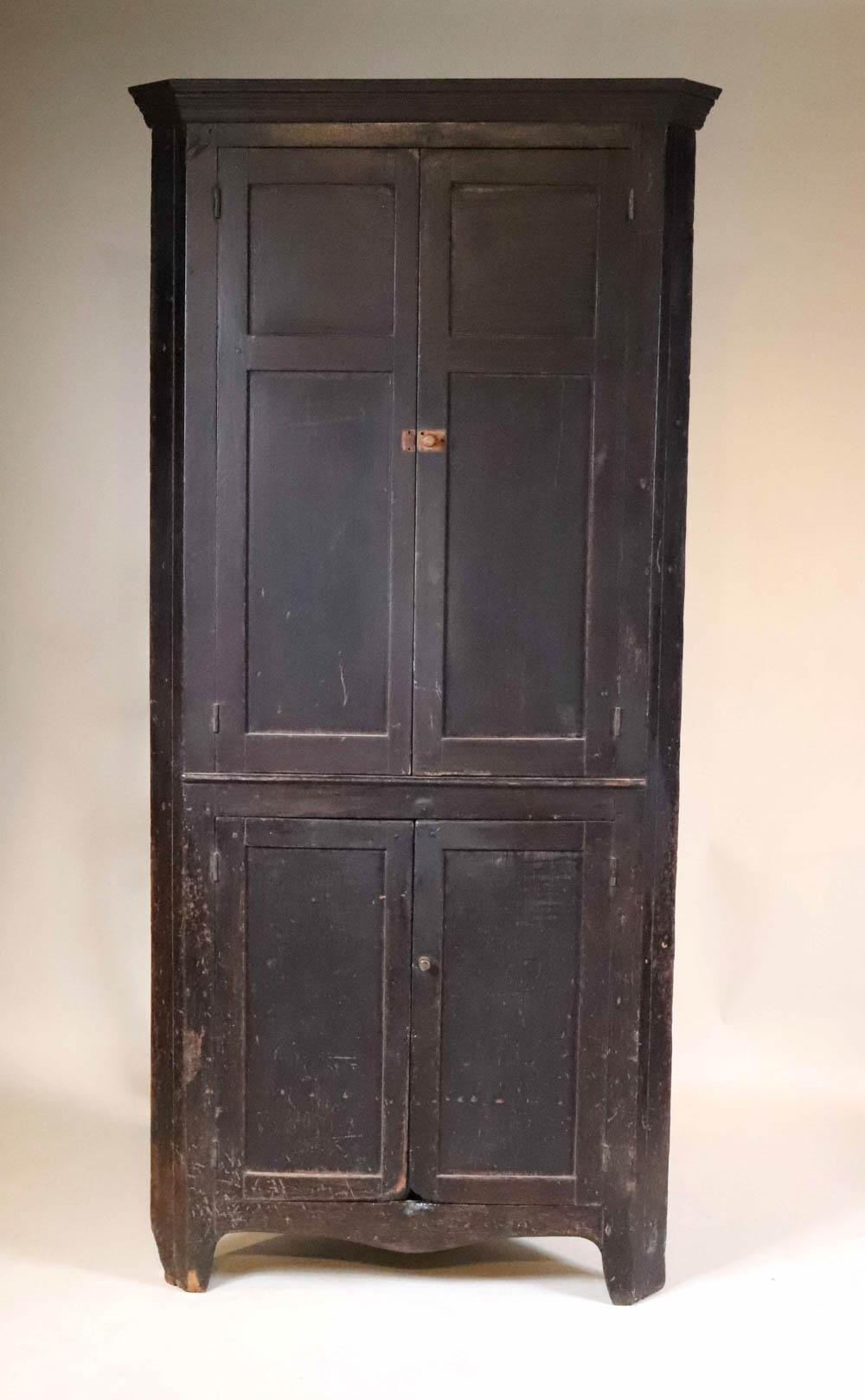 Brown-Painted Walnut Corner Cupboard