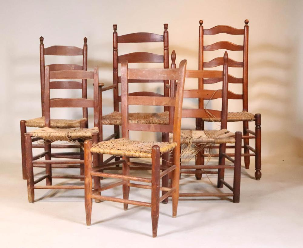 Group of Six Ladderback Chairs