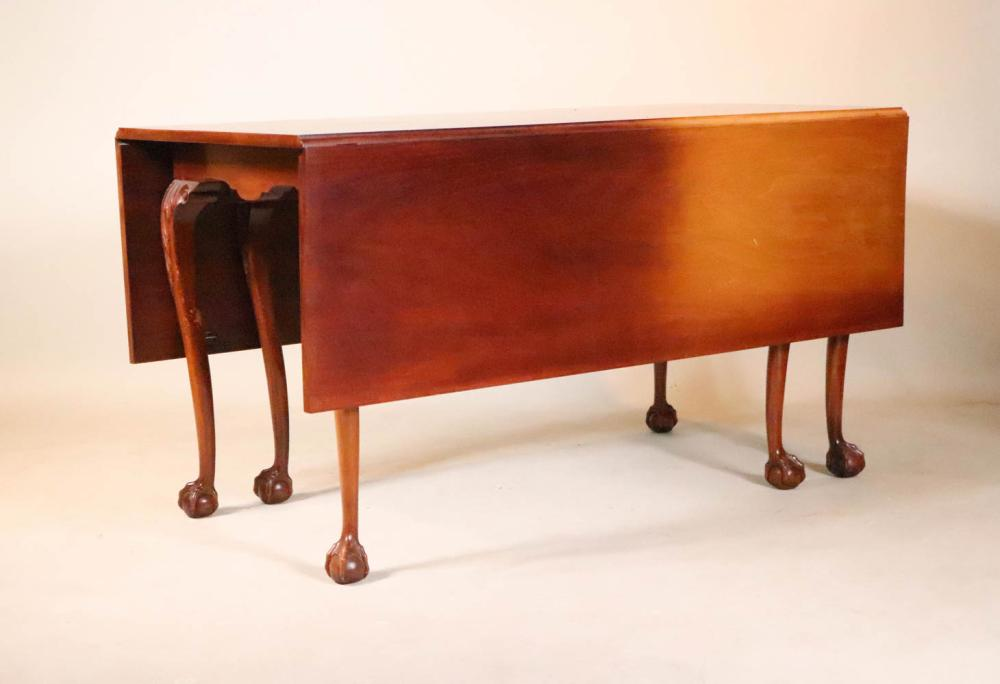 Chippendale Style Six-Leg Drop-Leaf Dining Table