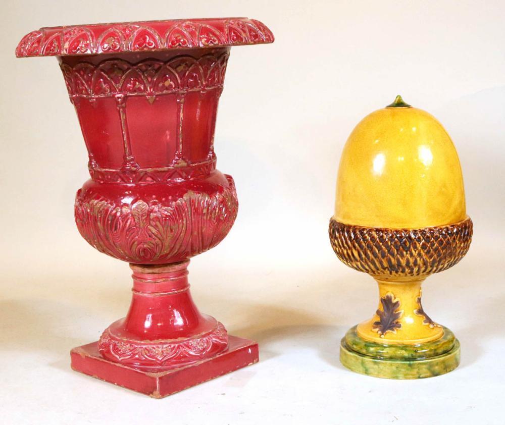 Red-Glazed Earthenware Urn-Form Planter