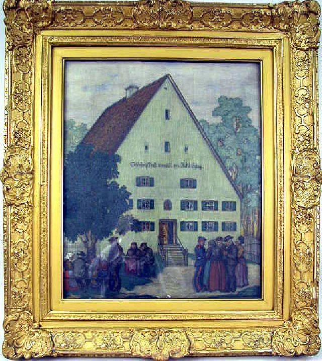 AN OIL ON CANVAS;Depicting a German village, bears signature LR