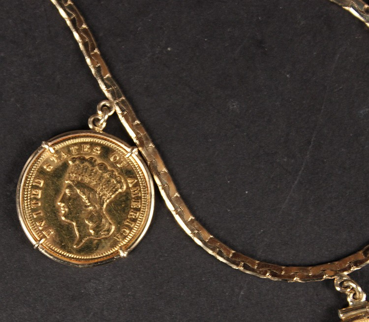 Three US $5 Liberty Gold Coins Necklaces