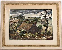 Watercolor, Hillside Cottages, Henry Gasser