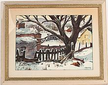 Watercolor, Country Snow Scene, Henry Gasser
