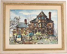 Watercolor, Victorian House, Henry Gasser