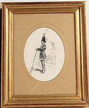 Ink on Paper of a Soldier and Drummer