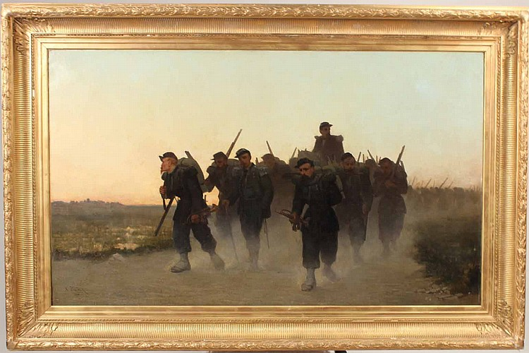 Oil on Canvas, Soldiers on Path, Paul A. Protais