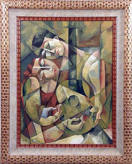 A CUBIST-STYLE FRAMED PRINT