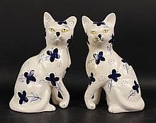 Pair of Porcelain Seated Cat Figures