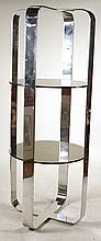 Modern Chrome and Glass Etagere