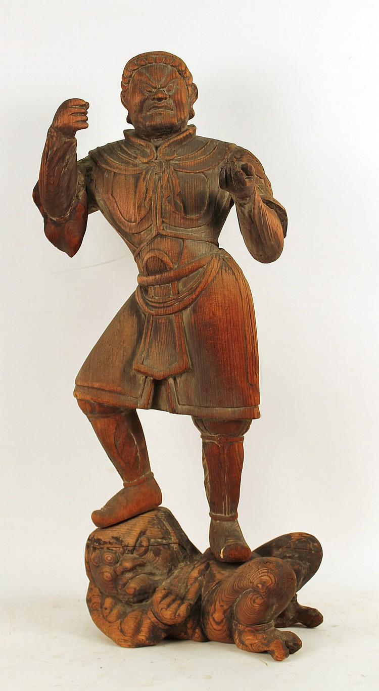 Japanese carved hardwood sculpture