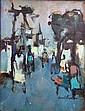 AN OIL ON BOARD OF A STREET SCENE, Joseph Kaplan, Click for value