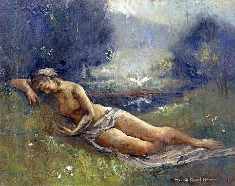 AN UNFRAMED OIL ON BOARD, LEDA AND THE SWAN, BY MAXWELL SIMPSON