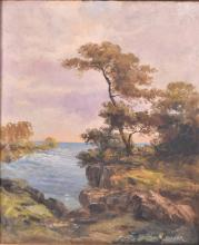 Lot 390: Oil on Canvas and Oil on Board, Two Landscapes