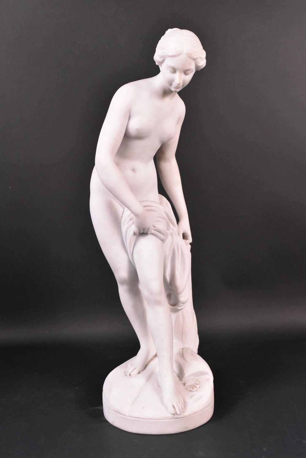 Lot 312: Neoclassical Stone Partial Nude Female Figure