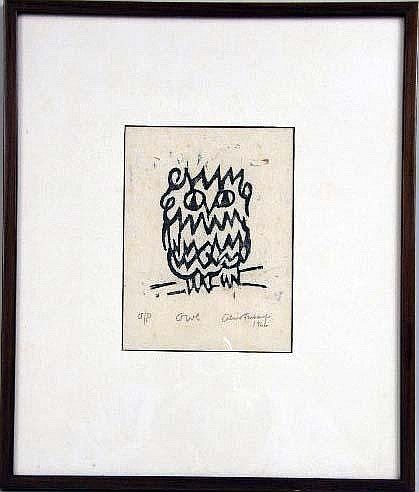 A LITHOGRAPH OF AN OWL