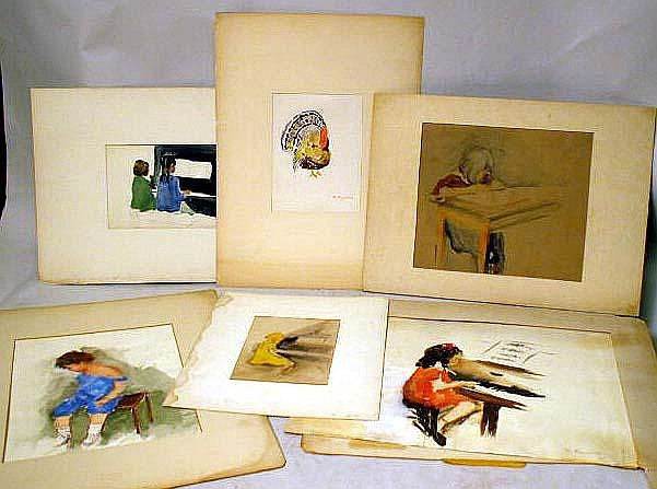 A GROUP OF SIX WATERCOLORS