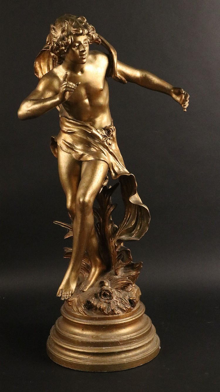 Neoclassical Gilt Painted Metal Sculpture