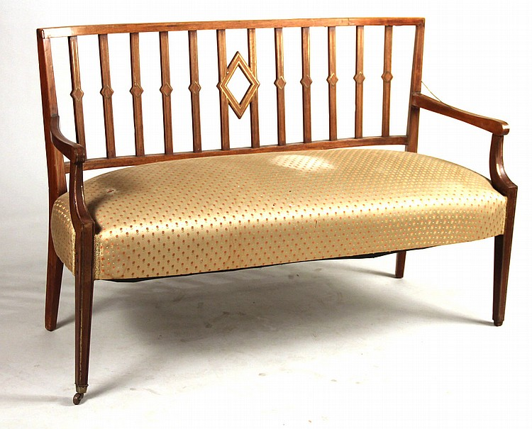 Federal Brass-Inlaid Mahogany Settee