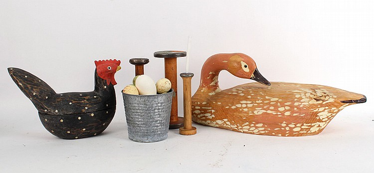 Carved Wood Duck and Rooster