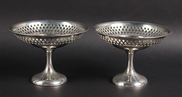 Pair of English Silver Footed Compotes