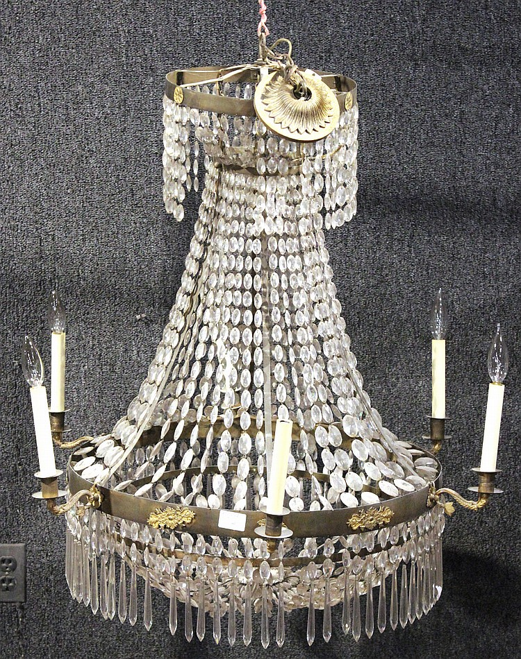 Victorian Patinated Metal and Crystal Chandelier