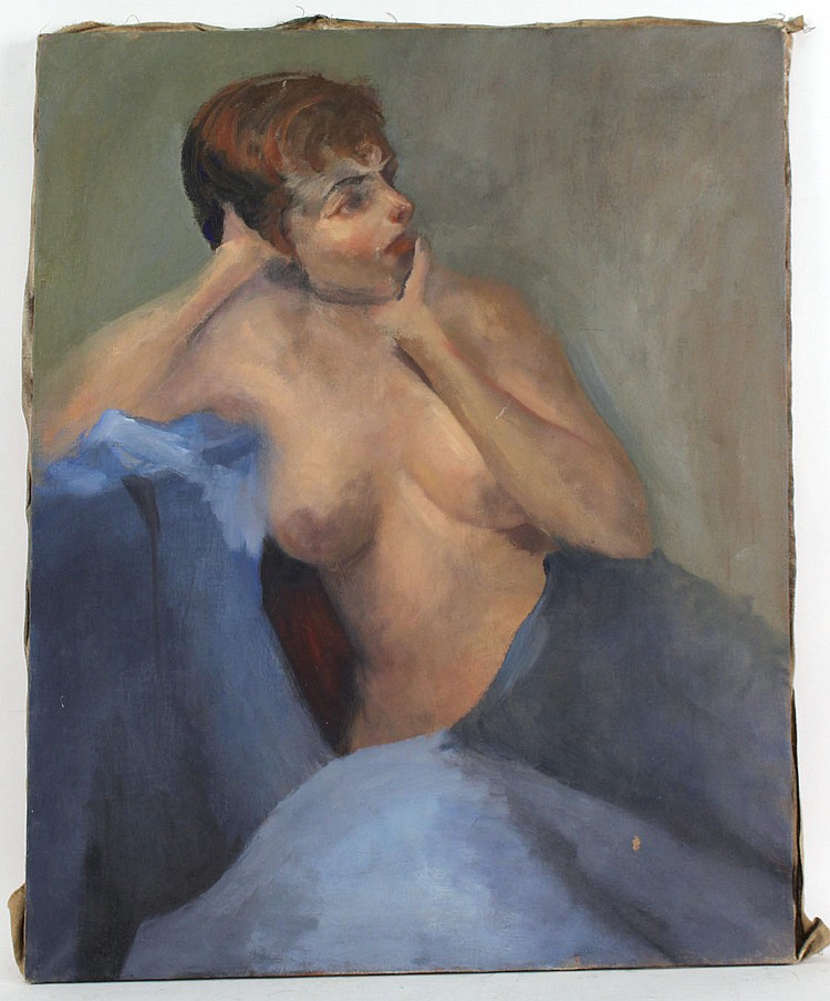 Oil on Canvas Female Nude on Blue Fabric