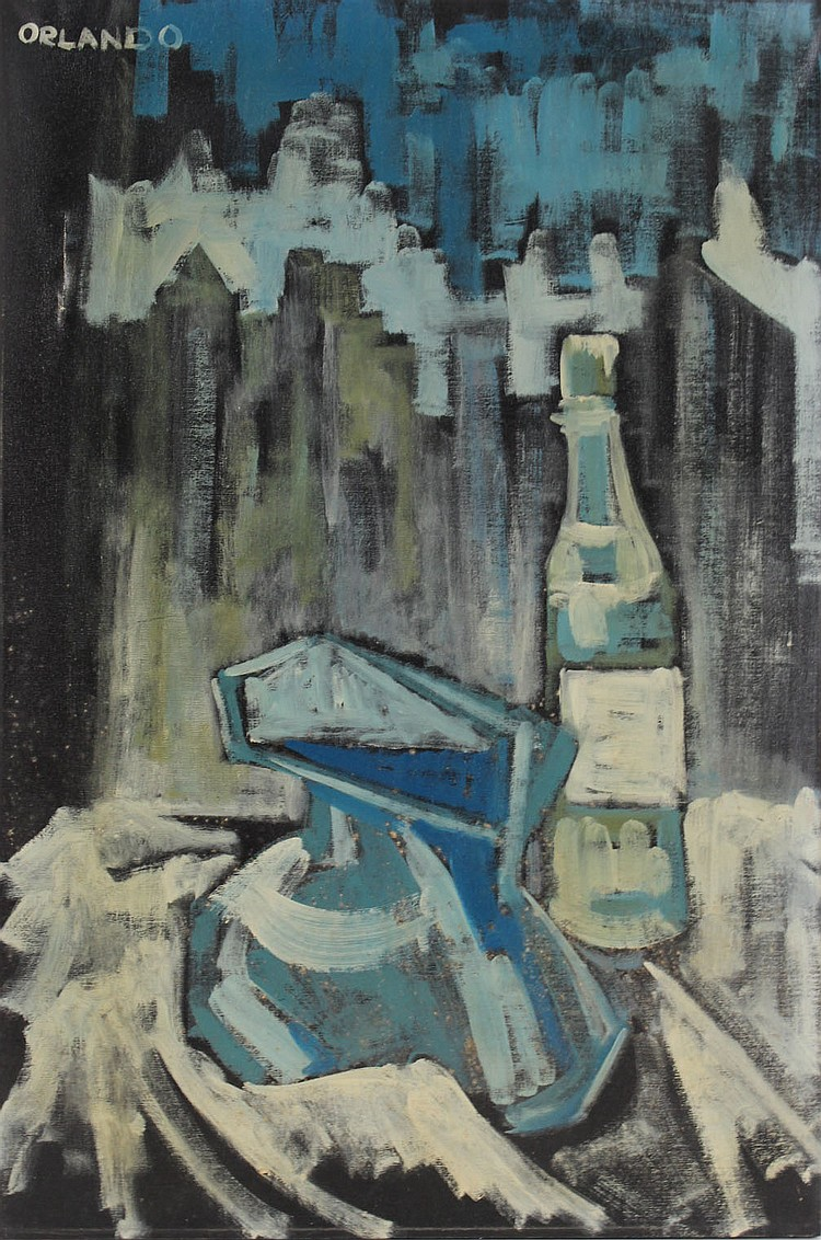 Oil on Canvas Abstract Still Life in Blue