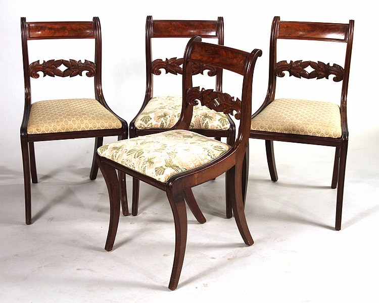 Four Federal Carved Mahogany Side Chairs