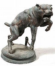 Bronze Sculpture of Lunging Dog, Charles Valton