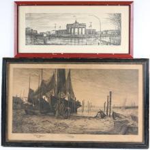 Charles Frederick Mielatz, Etching, Harbor Scene