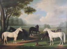 John McAuliffe Oil on Canvas, Horses in Meadow