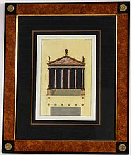 Neoclassical Architectural Hand Colored Engraving