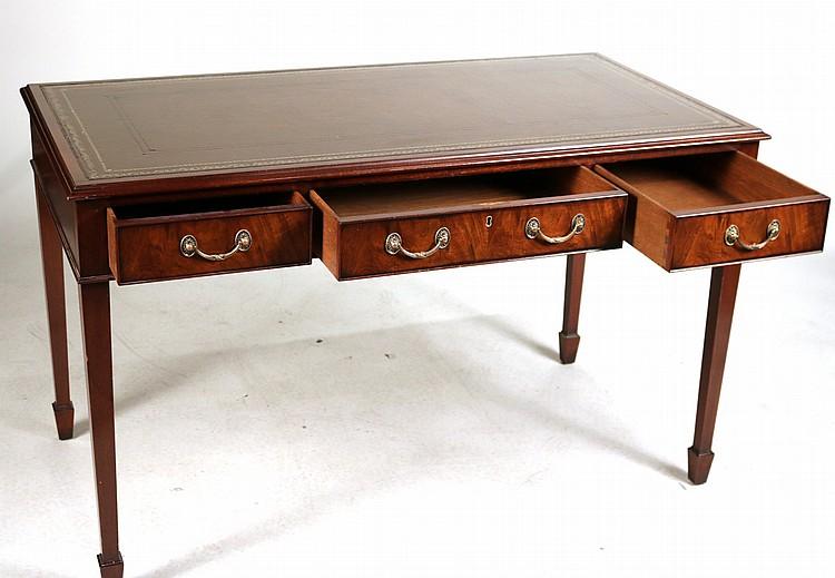 Wood And Hogan Leather Inset Mahogany Desk