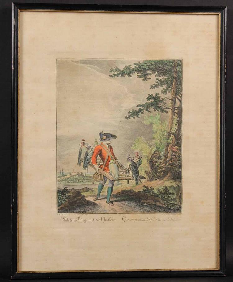 Hand Colored Engraving, Johann Ridinger, 18thC.